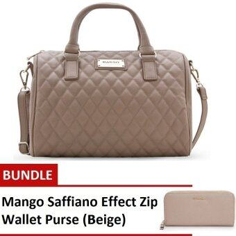 Harga (BUNDLE) Mango Quilted Bowling Handbags (Beige) + Mango Saffiano Effect Zip Wallet Purse (Beige)
