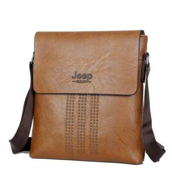 Harga Male Bag Shoulder Bag Men Shaft Aslant Package Crossbody Bag Cowhide Leather Tote Bag Leisure Small Bag Business Clamshell Packages (Khaki)