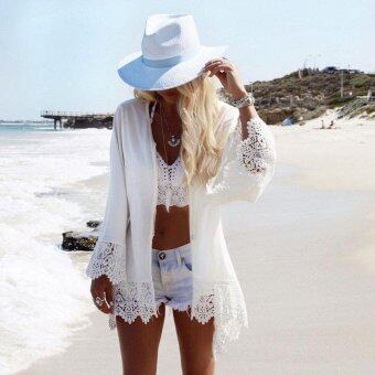 Harga Sexy White Polyester Beachwear Swimwear Women Lace Crochet Beach Tunic Summer Beach Wear Bikini Blouse