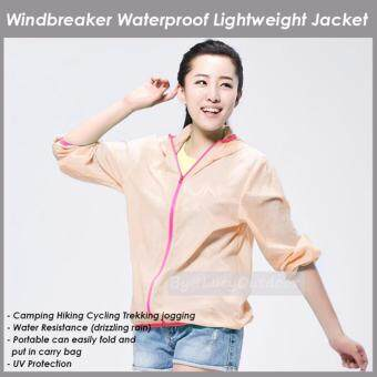 Harga Windbreaker Waterproof UV Protector SPF15 Lightweight Thin Sport Outdoor Jacket Motorcycle beach hiking WOMEN (Peach) Size L