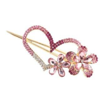 Harga Fashion Rhinestone Flower and Love Heart Design Hair Clips Pin Comb Hairpins Lady Women Hair Accessory Pink