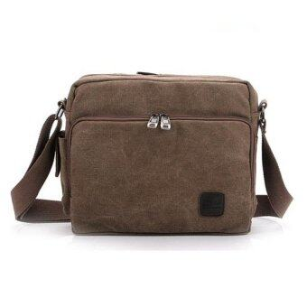 Harga Stylish Multi Compartment Canvas Bag/Messenger Bag/Shoulder Bag COFFEE