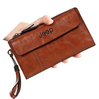 Harga Men Handbags First Layer of Cowhide Leather Clutch Business Casual Wallet Large Capacity Metrosexual Purse (Light Brown)