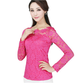 Harga New Women Fashion Lace Crochet Blouse Long-sleeved Lace Tops Plus Size M-5XL Rose Red