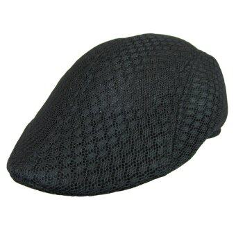 Harga Fang Fang Mesh Men Beret Cabbie Ivy Driving Flat Cap Irish Hats Golf Ventilate (Black)
