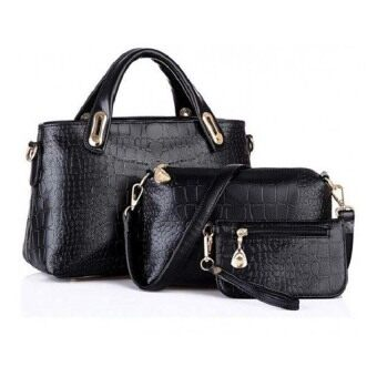 Harga SAGE Faux Crocodile Leather Bags Set of 3 (Black)