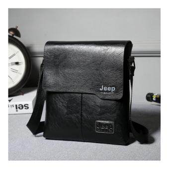 Harga Jeep Cowhide Leather Crossbody Bag casual package travel Shoulder Bag Men Business Messenger (Black)
