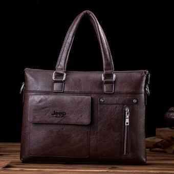 Harga Men's Tote Genuine Cowhide Leather Handbag Business Portable Bag Crossbody Bag Briefcase (Coffee)
