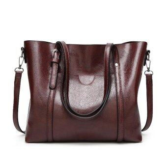 Harga New fashion handbags big bag wild shoulder Messenger bag simple oil wax leather portable(cofee)