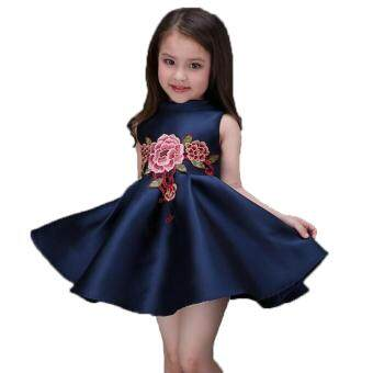 Harga Girls embroidery flower dress
