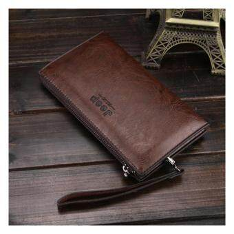 Harga Jeep New men's leather wallet long wallet mobile phone multi-card leather wallet casual clutch bag (Brown)