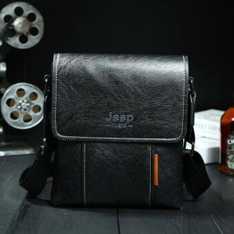 Harga JEEP Men's Messenger Bag Single Shoulder Bag Leather Casual Satchel (Black)