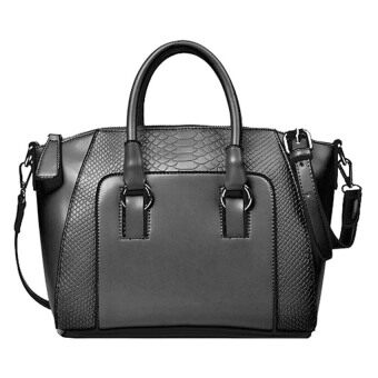 Harga Kstyle Faux Crocodile Leather Handbags (Black)