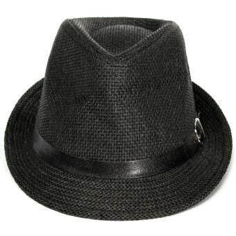 Harga Women Men Summer Beach Trilby Fedora Straw Cap Panama Brim Beach Sun Belt Hat black