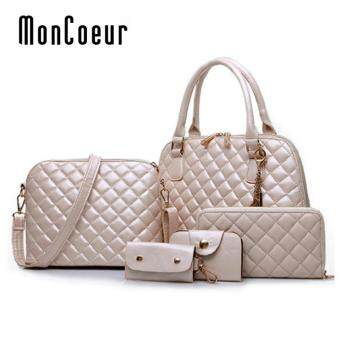 Harga MonCoeur D111 Set 5 in 1 Europe Design PU leather Handbag Set (White)