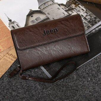 Harga Jeep Cowhide Leather Wallet Leisure Handbag Men Clutch Hand Bag Large Purse Card Holders (Coffee)