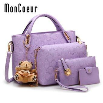 Harga MonCoeur B04 Set of 5 in 1 Luxury Faux Crocodile Leather HandBags (Purple)