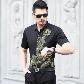 Harga Men's Dragon Pattern Casual Cotton Shirt(Black)