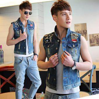 Harga Denim Vest Men With Jeans Vest Men Sleeveless Denim Jacket Men Denim Jeans Vest Jacket Vest Plus Size