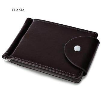 Harga Fashion Card Holders Flama Solid Color Letter Snap Fastener Detachable Flexible Money Clip Card Wallet For Unisex(Coffee)(Size:HORIZONTAL)