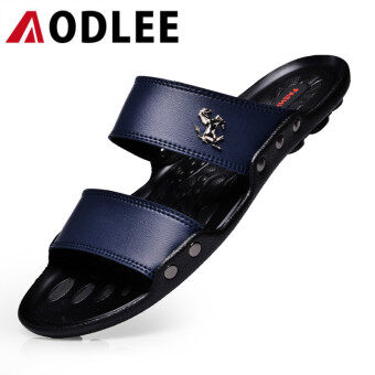Harga AODLEE Fashion Men Sandals Casual Shoes Breathable Slippers Blue