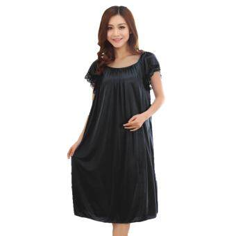 Harga Loveena Ice Silk Plus Size Pyjamas Sleepwear Dress L7070 (Black)