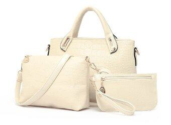 Harga Reverie set of 3 Faux Crocodile Leather Handbag (Off White)