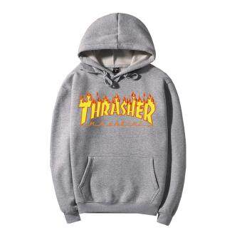 Harga Men's Printed Hoodie Flame Pure Cotton Thickening Thrasher Hoodies THRASHER Flame Clothes Lovers Unlined Upper Garment