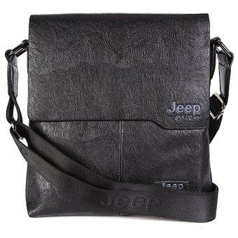 Harga Jeep Buluo Messenger Bag Jeep Leather Briefcase Shoulder Bag Unisex Working Briefcase Leather Sling Bag Daypack (Black)
