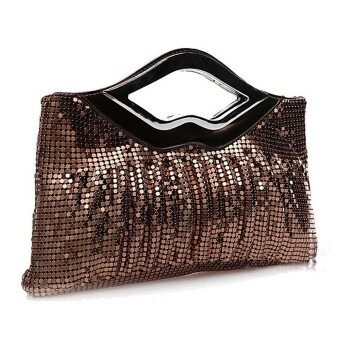 Harga Big Bag Fold Aluminium Sequins Female Bag Dinner Handbag Coffee