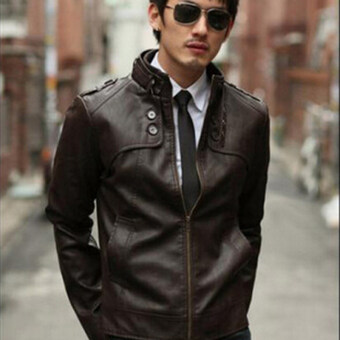 Harga Korean men's leather jacket collar(dark brown)