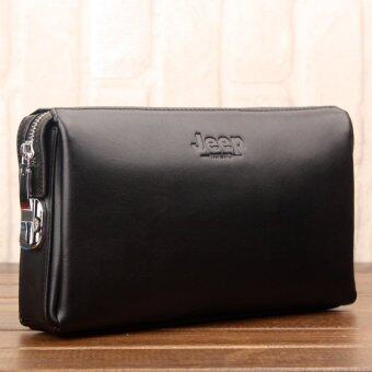 Harga Jeep Buluo Men Bag Handbag Zipper Locks Male Cowhide Leather Clutch Hand Bag Clip Large Capacity Wallet (Black/ Big)