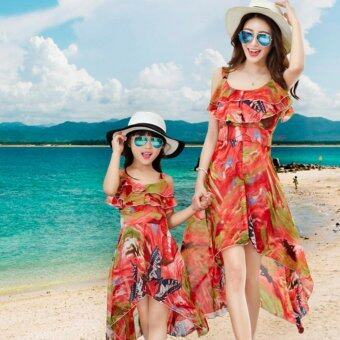 Harga HengSong Family Matching Beach Resort Dress Clothes Parent Kids Outfits Mother Daughter Long Dress(Mother Red)