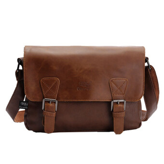 Harga Three-box men Messenger shoulder bag fashion leisure bag Britishretro messenger bag business style - Light Coffee