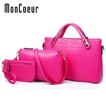 Harga MonCoeur A01 Set of 3 in 1 Luxury Faux Crocodile Leather HandBags (Rose Pink)