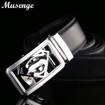 Harga Belt Designer Belts Men High Quality Silver Superman Automatic Buckle Black Brown Real Leather Belt Men Ceintures Ceinture Homme