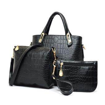 Harga Reverie set of 3 Faux Crocodile Leather Handbag (Black)