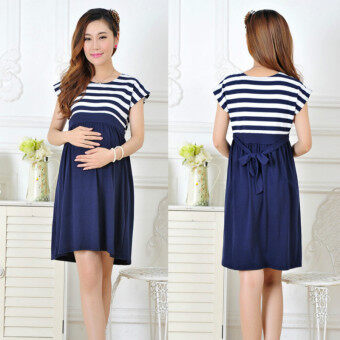Harga Women Long Maternity Dresses for Pregnant Women Loose Clothing Maternity Fashion Stripe Home Cotton Mother Clothes (Blue)