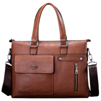 Harga Men's Tote Genuine Cowhide Leather Handbag Business Portable Bag Crossbody Bag Briefcase (Brown)
