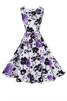 Harga ASTAR Vintage Floral Printed Midi Dress (Purple)