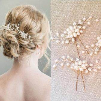 Harga Good Service Hair Jewelry Accessories Handmade Hair Clips Wedding Bridal Pearl Crystal Flower Hair Pins Gold Plated White