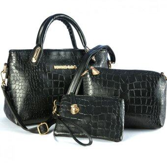 Harga Lulumono Faux Crocodile Leather Bags Set of 3- Black