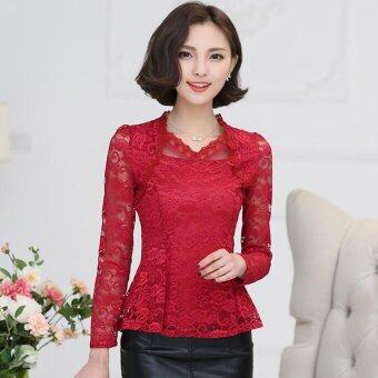 Harga 4XL plus size long-sleeved lace shirt blouses embroidered floral lace flounced crochet Blusas red - Intl