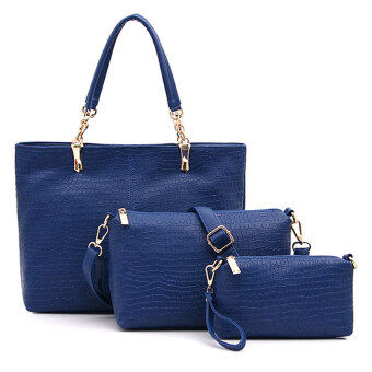 Harga Set of 3 Elegant Faux Crocodile Leather Bags Bag Suits Shoulder Handbag Blue