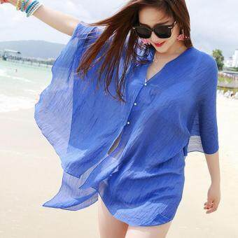 Harga 2017 Women Sexy Beach Cover Up Sexy Swimsuit Bathing Suit Cover Up Beach Wear Dress (blue)