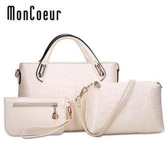 Harga MonCoeur A01 Set of 3 in 1 Luxury Faux Crocodile Leather HandBags (Ivory White)
