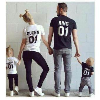 Harga Family Matching Outfits King Queen Letter Shirt Cotton Tshirt Lovers Clothes Matching Princess Prince Newest Valentines Gift (Men)