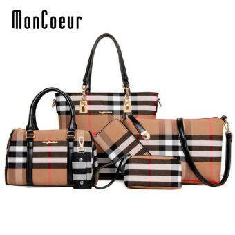 Harga MonCoeur D006 Set of 6 in 1 Woman European Design PU leather Handbag (Black)