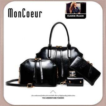 Harga MonCoeur A03 4 in 1 European Designer Leather Handbags 4 piece Set (Black)