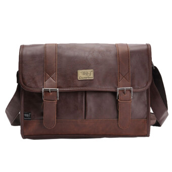 Harga 360DSC Three-box Casual Business Men PU Leather Flap-Over Cross Body Bag Messenger Shoulder Bag Briefcase Bag - Dark Coffee
